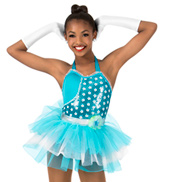 Girls Sequin Two-Toned Halter Performance Tutu Dress