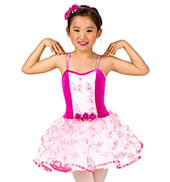 Girls Velvet Floral Tutu Dress Set