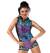 Adult Hooded Shorty Sequin Unitard
