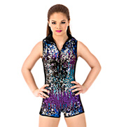 Girls Hooded Shorty Sequin Unitard