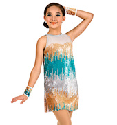 Girls Sequined Stripe Shift Dress Set