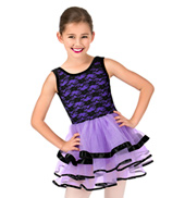 Girls Floral Lace Tank Ballet Tutu Dress
