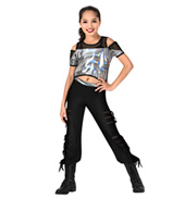 Girls Metallic Mesh 2-Piece Hip Hop Set