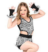 Girls Zebra Print Tank Performance Shorty Unitard