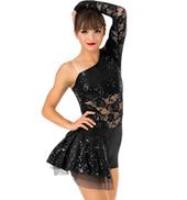 Womens Lace Asymmetrical Bustled Performance Shorty Unitard