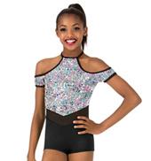 Girls Sequin Halter Performance Shorty Unitard