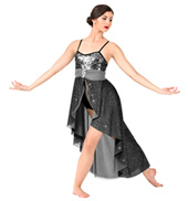 Womens Glitter Mesh High-Low Camisole Lyrical Dress