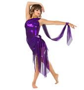 Womens Glitter Mesh Bustled Performance Shorty Unitard