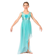 Girls Glitter Mesh Asymmetrical Lyrical Dress
