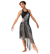 Womens Metallic Asymmetrical Halter Performance Dress