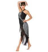 Womens Plus Size Sequin Bustled Performance Dress