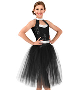 Girls Sequin Romantic Tutu Performance Dress