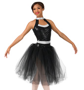Womens Plus Size Sequin Romantic Tutu Performance Dress