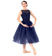 Womens Plus Size Lace Overlay Ballet Tutu Dress