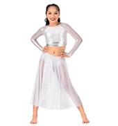 Girls Glitter Mesh Long Sleeve 2-Piece Performance Set