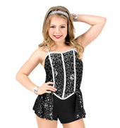 Girls Sequin Camisole Performance Shorty Unitard