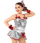 Girls Sequined Peplum Dress Set