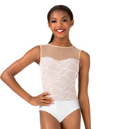 Girls Swirl Mesh Tank Performance Leotard
