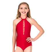 Girls Swirl Mesh Halter Performance Leotard