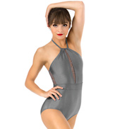 Womens Plus Size Swirl Mesh Halter Performance Leotard