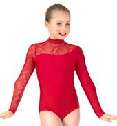 Girls Swirl Mesh Long Sleeve Performance Leotard