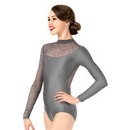 Womens Plus Size Swirl Mesh Long Sleeve Performance Leotard