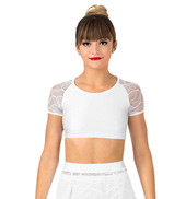 Womens Plus Size Swirl Mesh Cap Sleeve Dance Crop Top