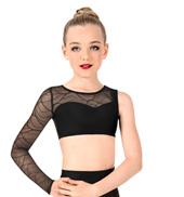 Girls Swirl Mesh Asymmetrical Dance Crop Top