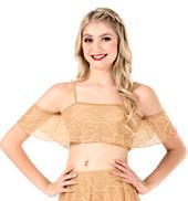 Womens Swirl Mesh Camisole Dance Crop Top