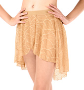 Womens Swirl Mesh Short High-Low Performance Skirt