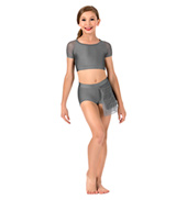 Girls Swirl Mesh Bustled Dance Shorts