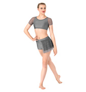 Womens Plus Size Swirl Mesh Bustled Dance Shorts
