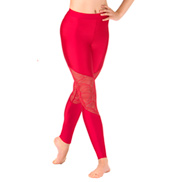 Womens Swirl Mesh Ankle Dance Leggings
