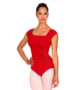 Adult Shirred Short Sleeve Leotard