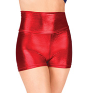 Adult High Waist Metallic Dance Shorts