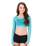 Girls Long Sleeve Power Mesh Crop Top