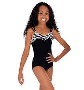 Child Zebra Trim Camisole Leotard