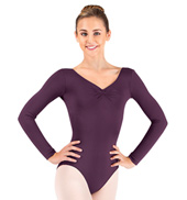 Adult Microfiber Pinch Front Long Sleeve Leotard