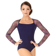 Adult Violet Storm Floral Mesh Long Sleeve Ballet Leotard