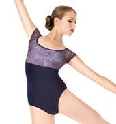 Adult Violet Storm Floral Mesh Short Sleeve Ballet Leotard