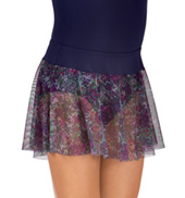 Adult Violet Storm Floral Mesh Pull-On Ballet Skirt