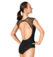Adult Dot Mesh Cap Sleeve Leotard