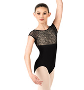 Child Floral Lace Short Sleeve Leotard