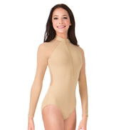 Adult Mesh Long Sleeve Zip Front Leotard