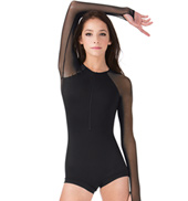 Adult Mesh Long Sleeve Zip Front Shorty Unitard