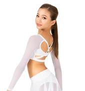 Child Long Sleeve X-Back Dance Crop Top