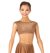 Child Cap Sleeve Open Back Dance Crop Top