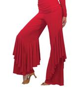 Womens Ruffled Palazzo Ballroom Pants