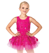 Child Flower Applique Tank Tutu Dress