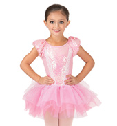 Child Sequin Puff Sleeve Tutu Costume Dress